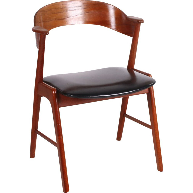 Vintage teak and leather armchair Kai Kristiansen 1960