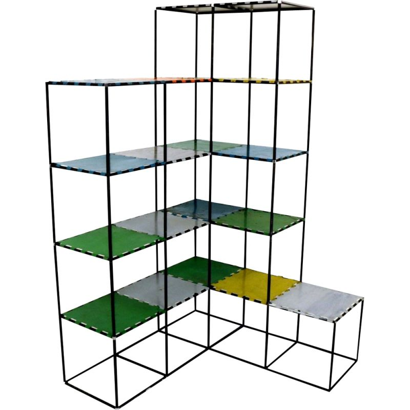 Vintage shelf in claustra by Poul Cadovius, Denmark 1950