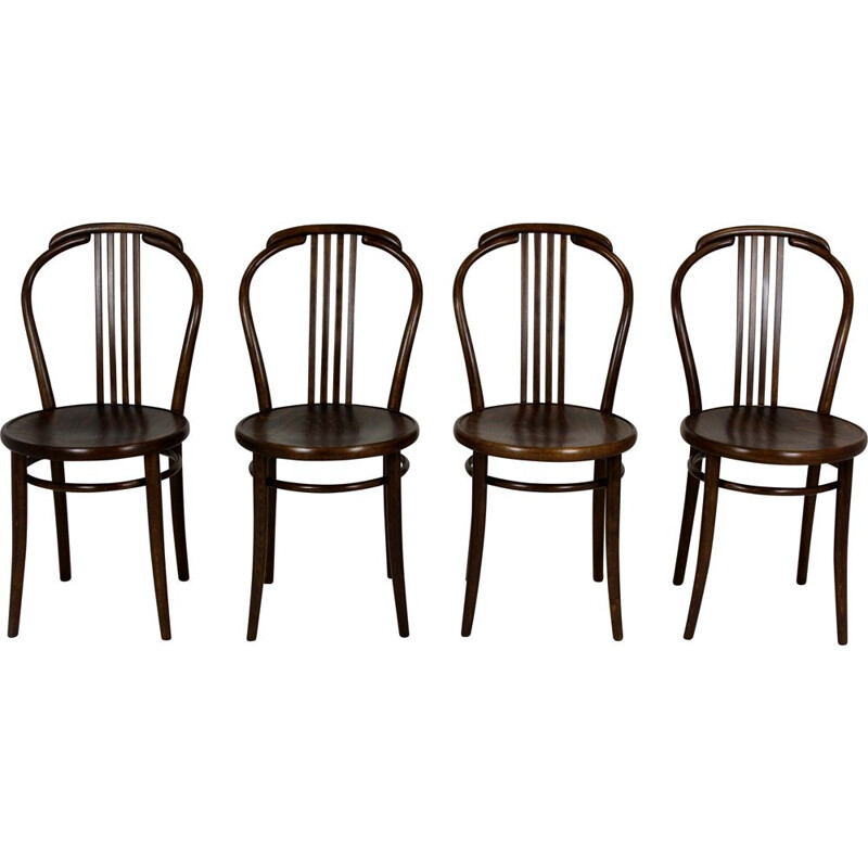Set of 4 vintage Bentwood Chairs from Ton 1960s