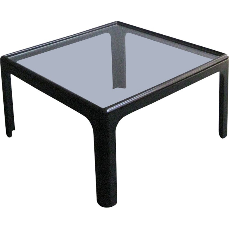 Vintage Black wooden and glass coffee table 1970s