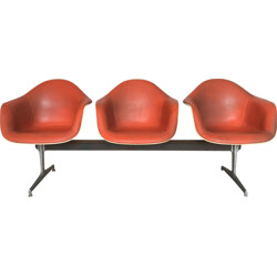 Herman Miller bench in fiberglass and leatherette, Charles & Ray EAMES - 1960s