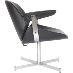 Artifort armchair in black leatherette and metal, Geoffrey HARCOURT - 1960s