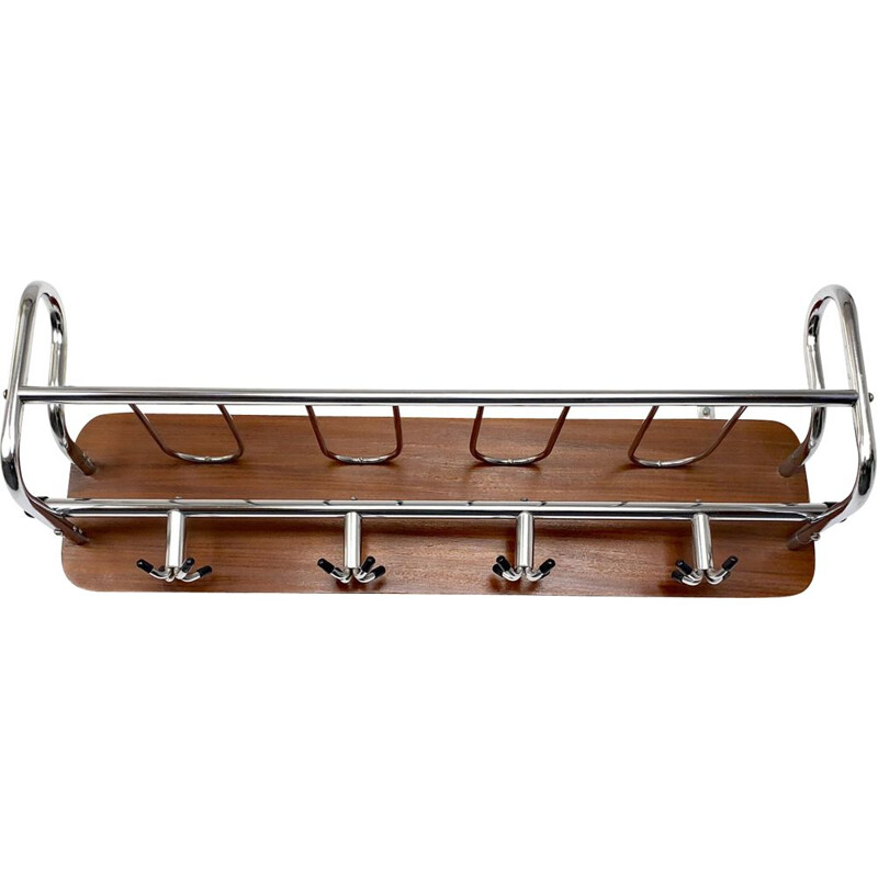 Mid-Century Wall Coat Rack Teak and Metal chrome plated Scandinavia 1960s