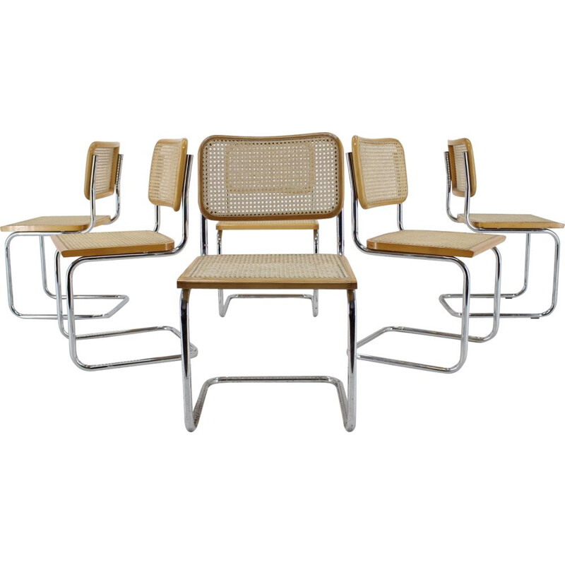 Set of 6 vintage Chrome PlatedWood Dining Chairs Italian 1970s