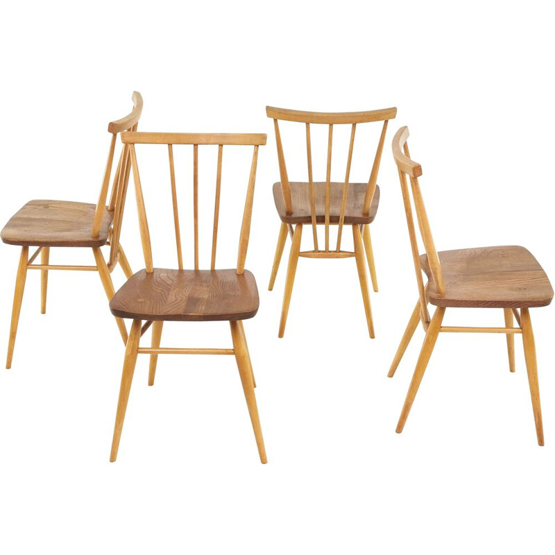 Set of 4 vintage Dining Chairs Blonde Ercol Elm & Beech Windsor 1960s