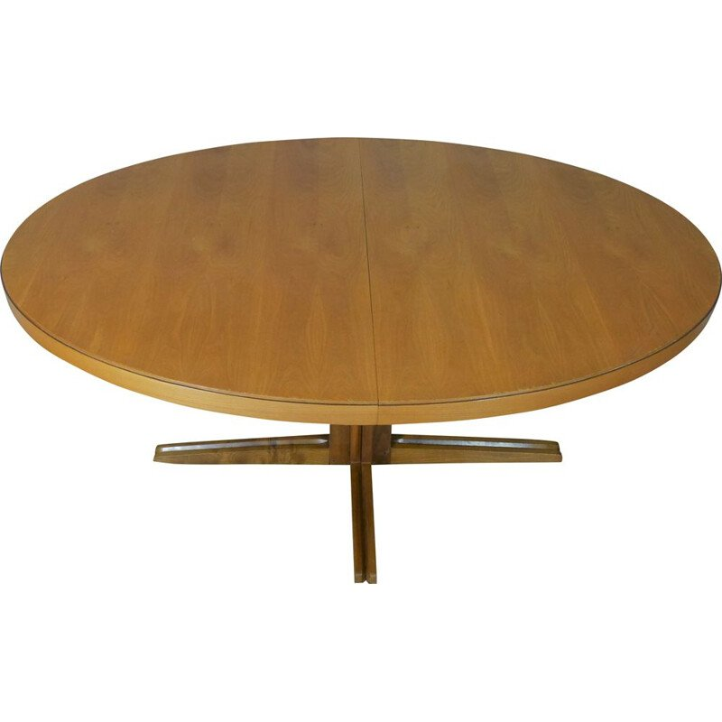 Vintage oval extensible Scandinavian dining table 1960s