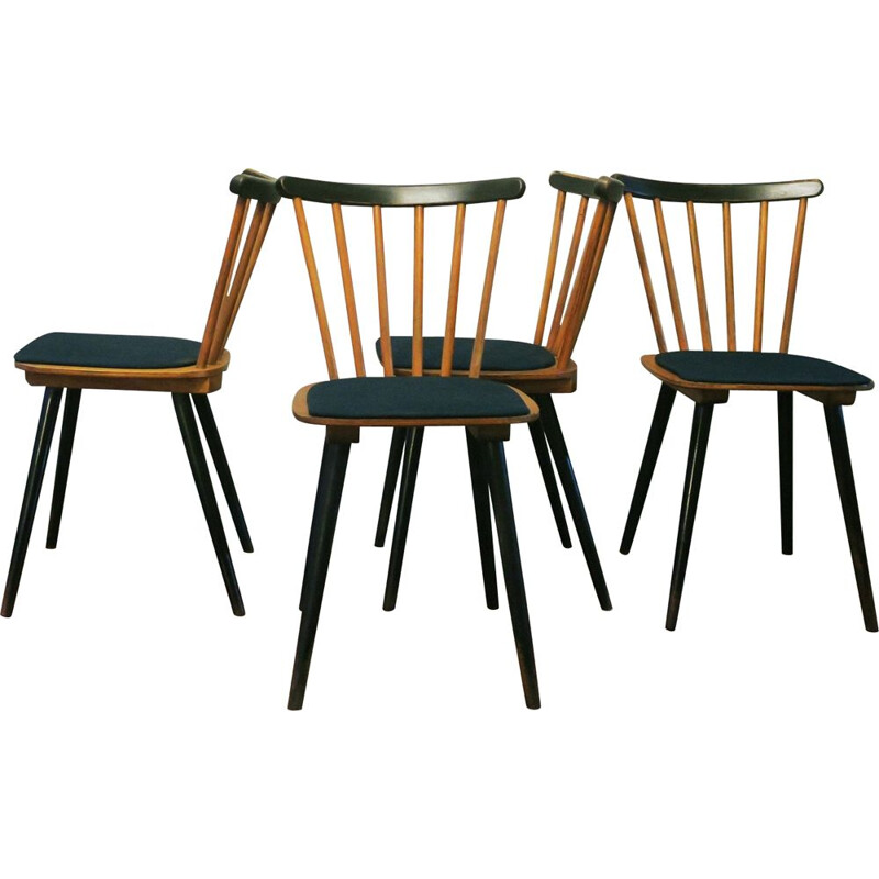 Set of 12 vintage chairs with splayed legs plywood seats and petrol blue-green covers 1950s