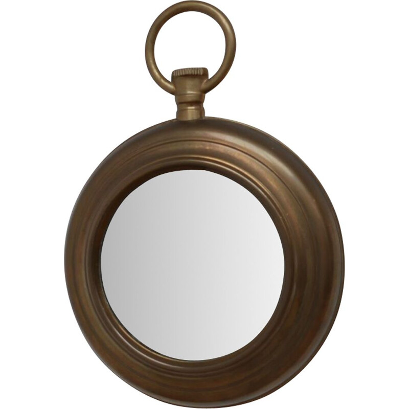 Mid-Century Brass Pocket Watch Mirror French 1950s