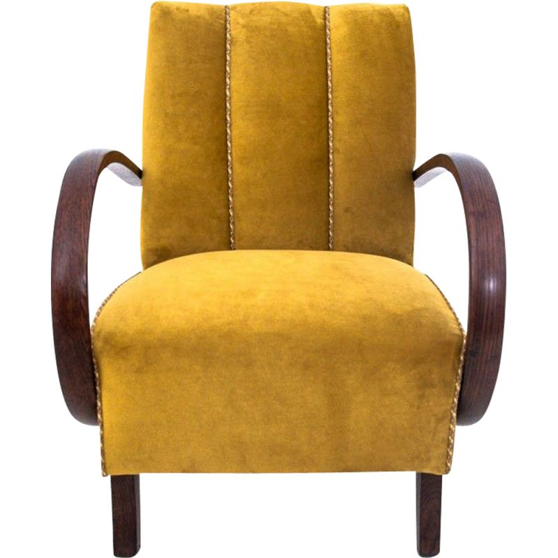 Vintage Yellow armchair by Jindrich Halabala 1940s