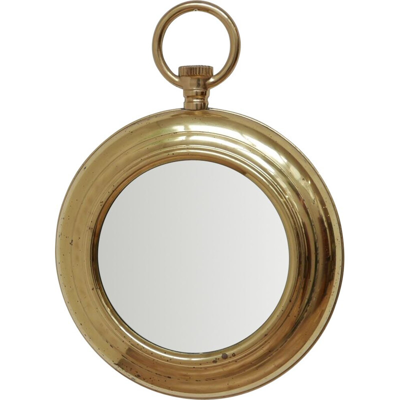 Vintage brass mirror, France 1950
