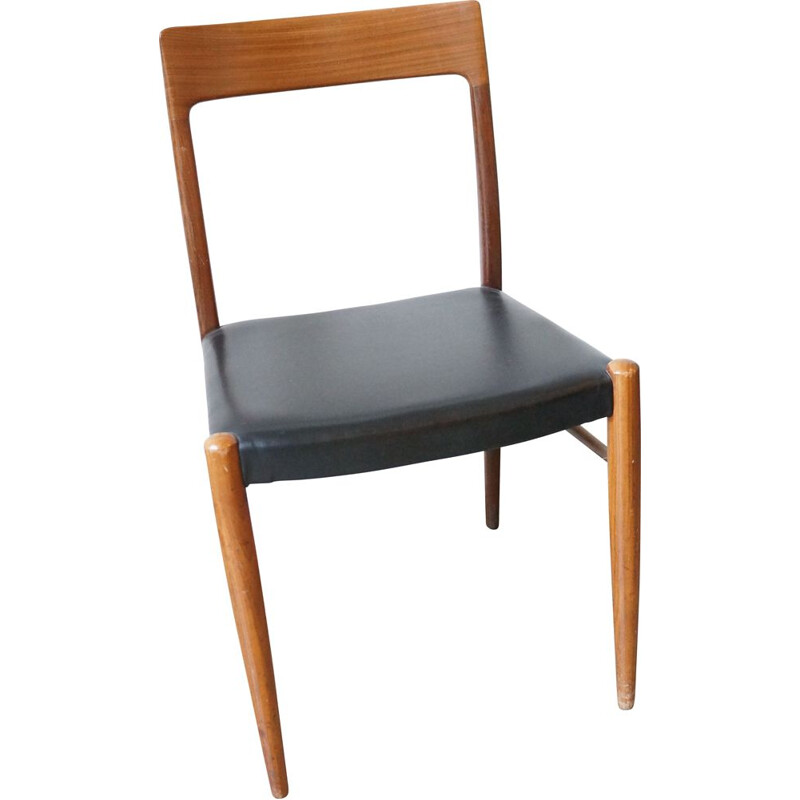 Vintage teak wooden black leatherette dining chair Scandinavian