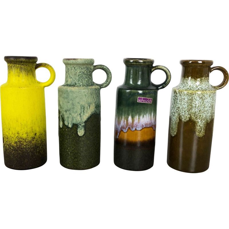 Set of 4 Vintage Pottery Fat Lava Vases by Scheurich Germany 1970s