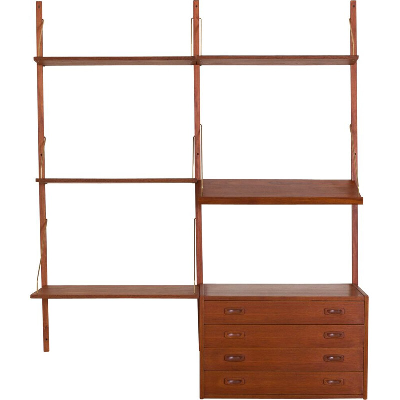 Vintage Teak wall unit with a desk and chest of drawers Cadovius Sorensen Denmark 1960s