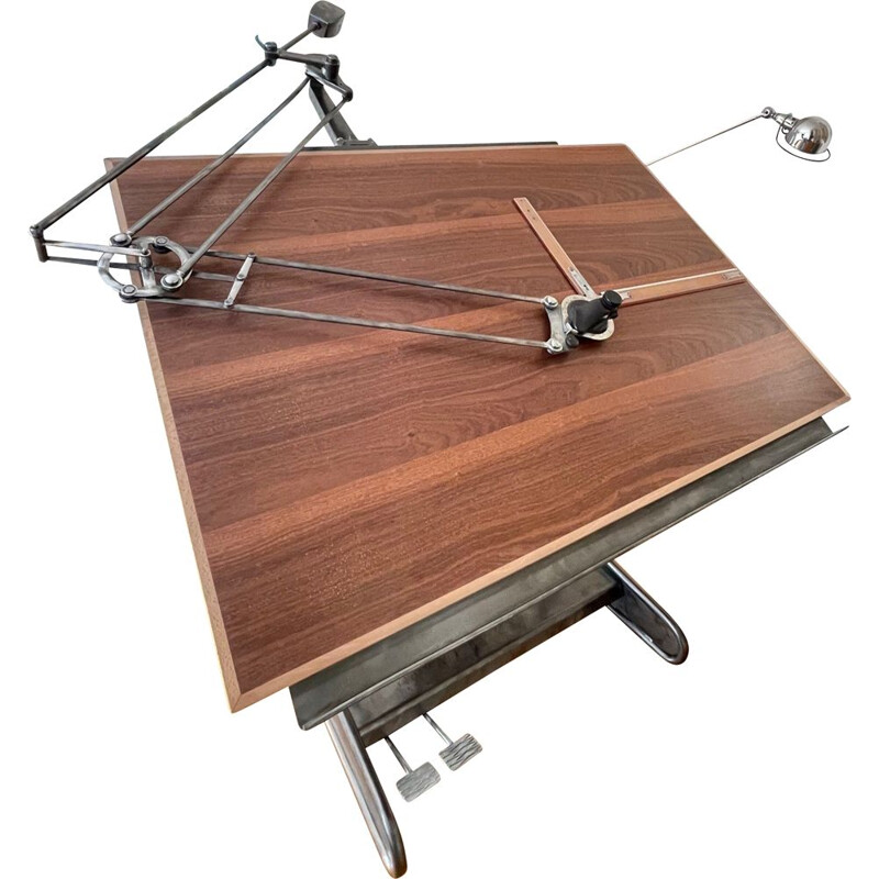 Vintage drawing table by architect Regma with pantograph France 1950s