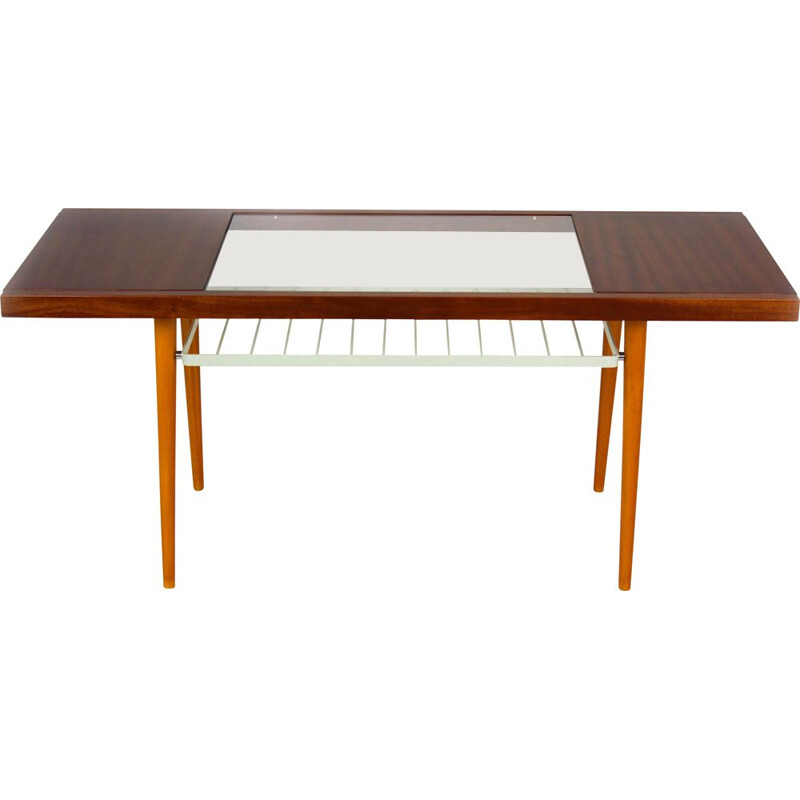 Vintage Glass Top Coffee Table from Jitona 1960s