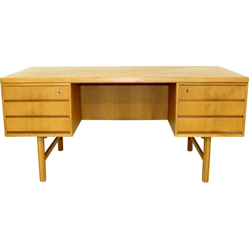 Vintage oak desk Sweden 1960s