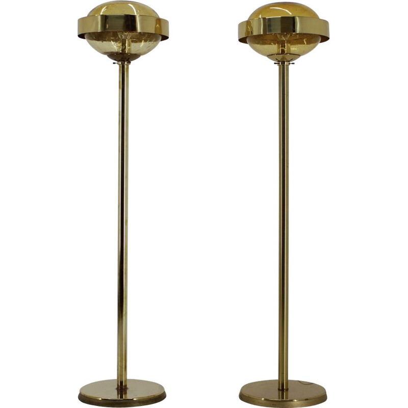 Pair of vintage Preciosa Gold Floor Lamp Czechoslovakia