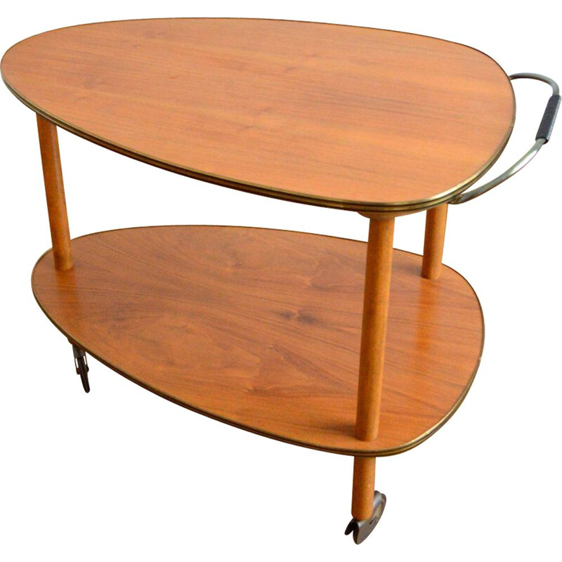 Vintage side table on casters 1950s