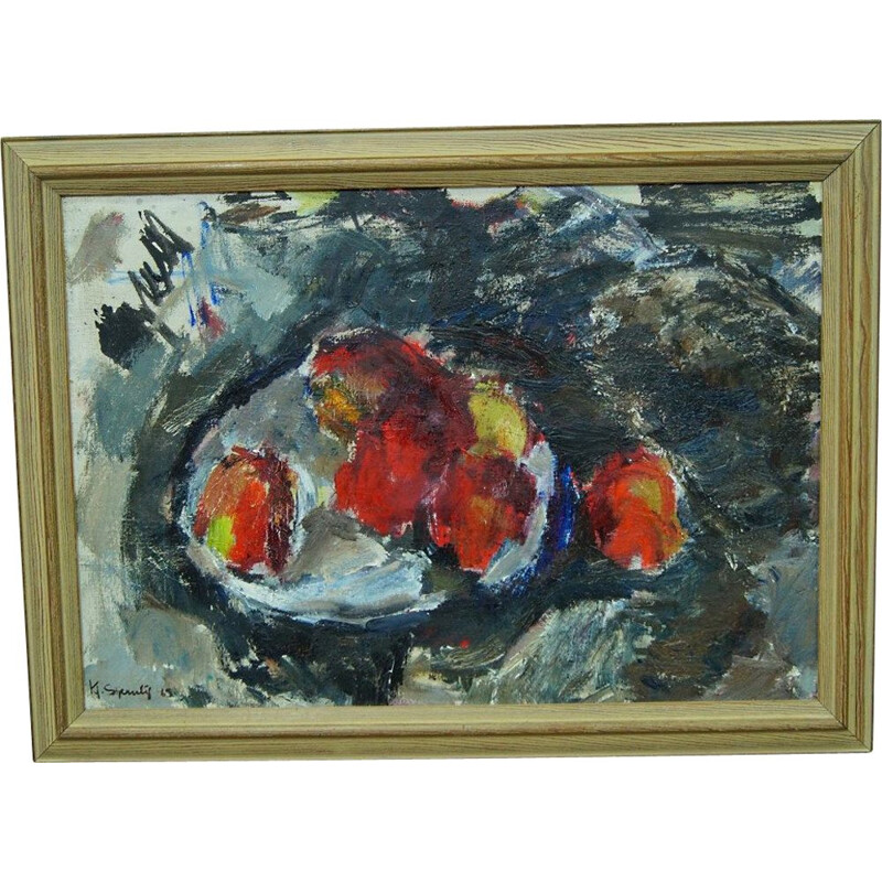 Vintage Oil Painting Expressionist Still Life Swedish 1960s