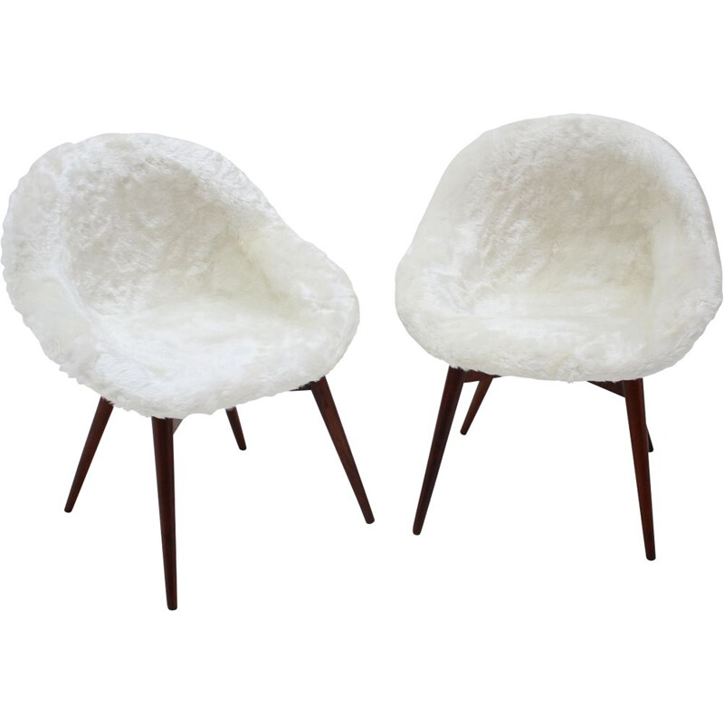 Pair of vintage lounge chairs by Miroslav Navratil 1960s