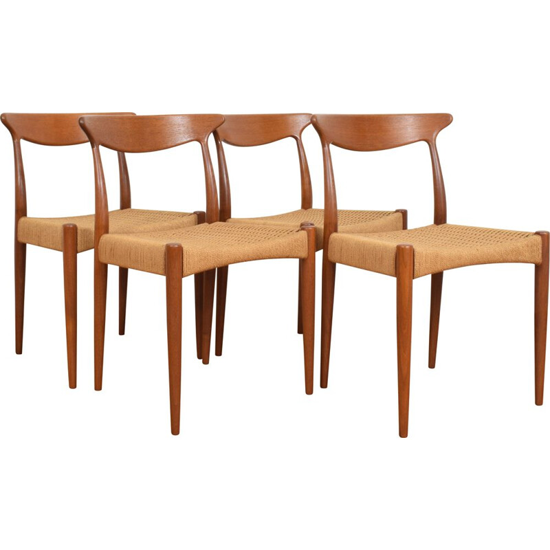 Set of 4 Mid-Century Teak Dining Chairs by Arne Hovmand-Olsen for Mogens-Kold 1950s