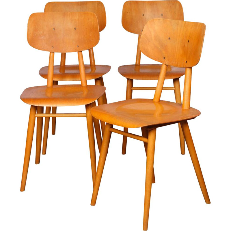 Set of 4 vintage chairs by Ton 1960s