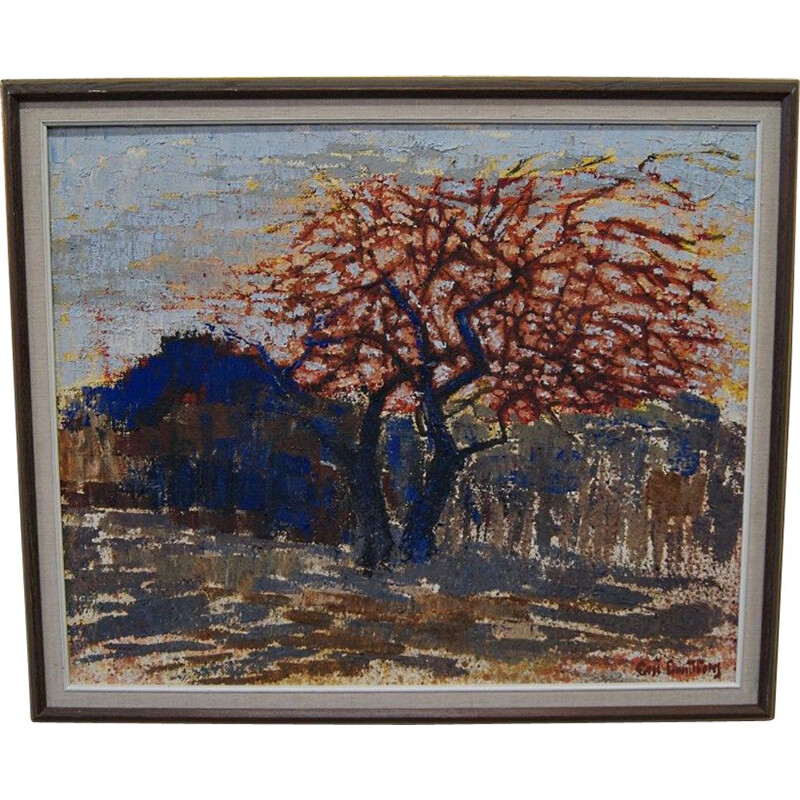 Vintage Eric Lundberg Expressionist Oil Painting 1970s