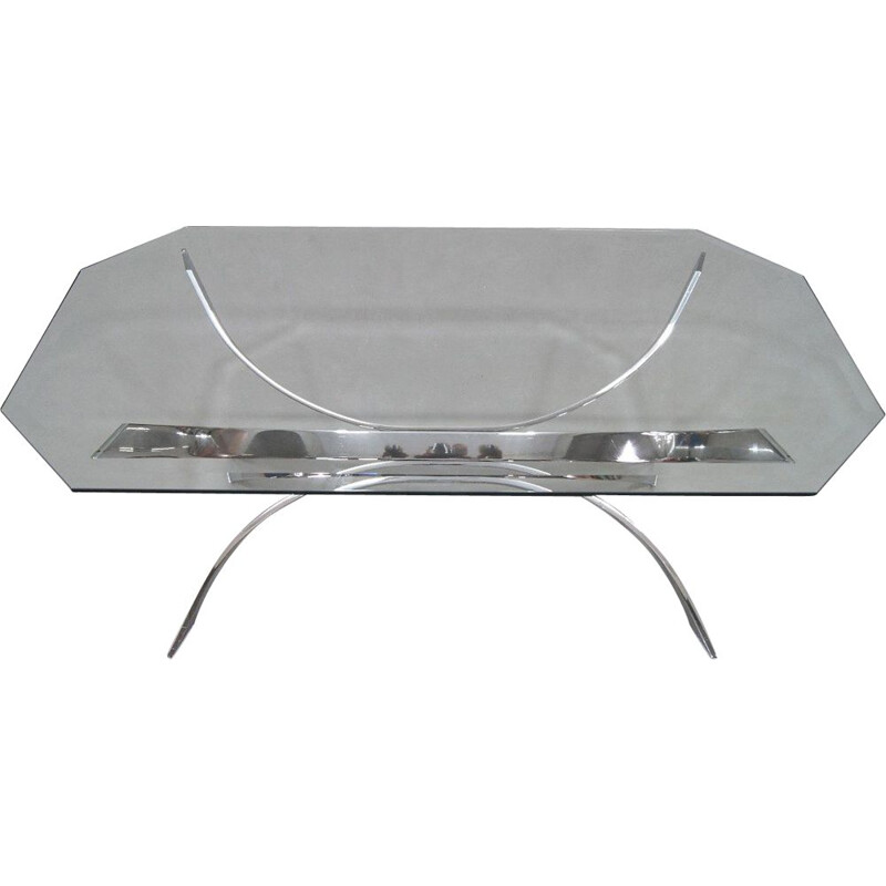 Vintage Modern Chrome Coffee Table Italian 1970s