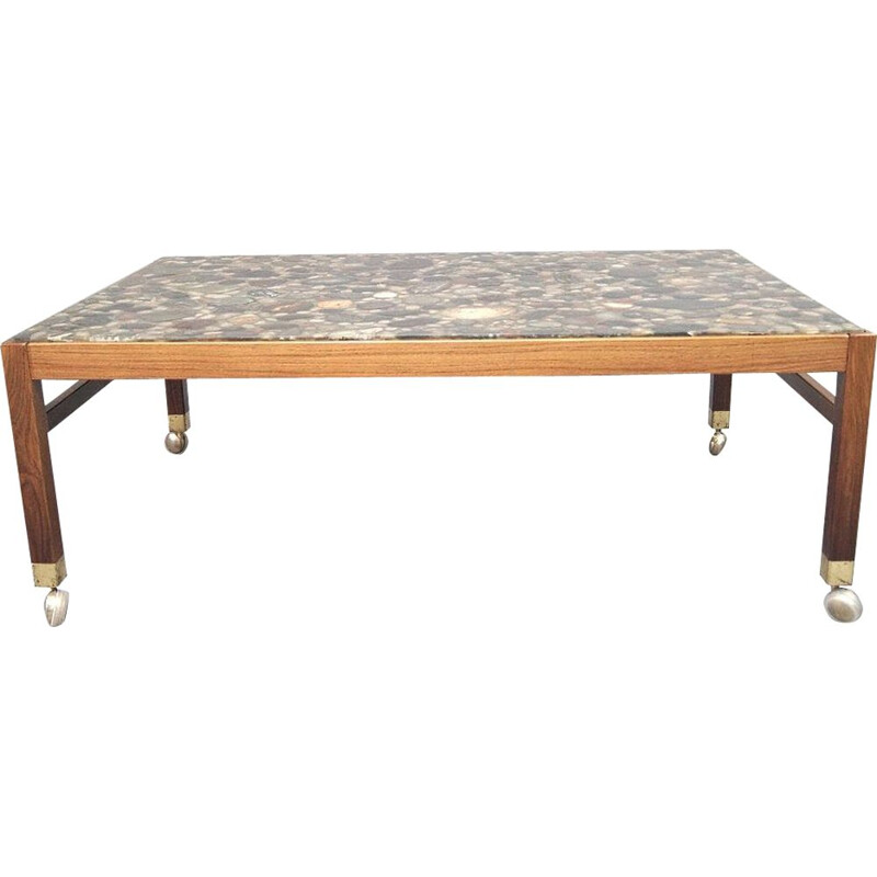 Mid-Century Rosewood and Pebbles Coffee Table Swedish 1960s