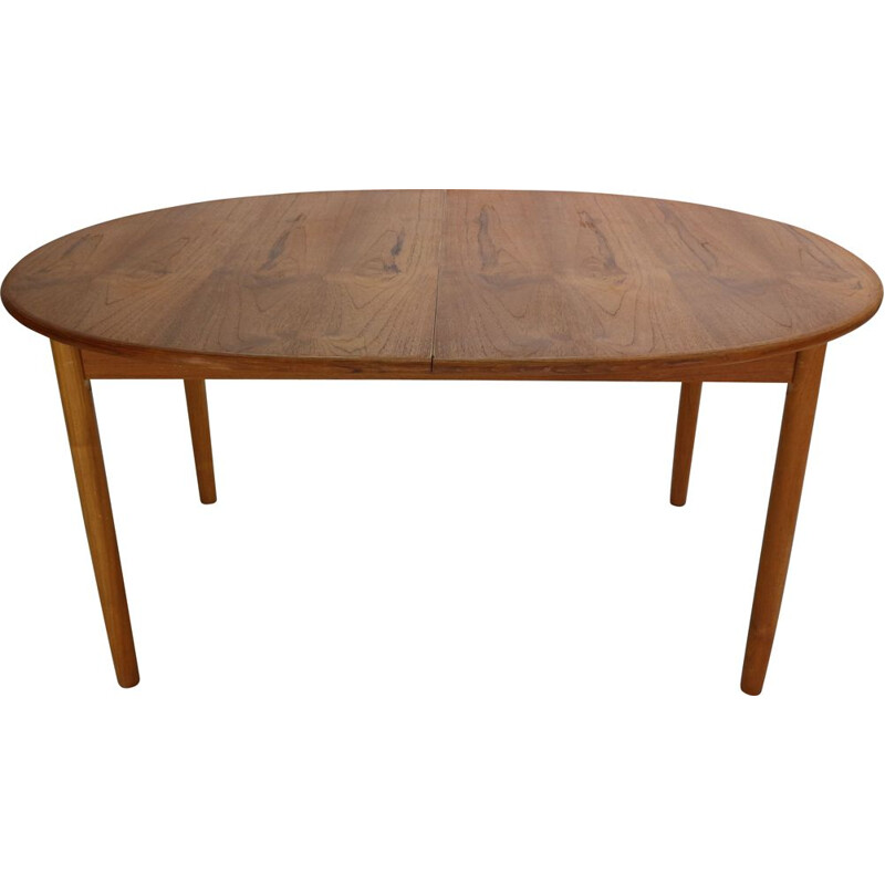 Vintage Solid Teak Oval Extendable Dinning Table Denmark 1960s