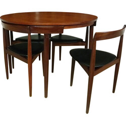 Set of dining table and 4 chairs in teak and leatherette, Hans OLSEN - 1960s