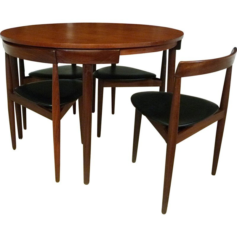 Set Of Dining Table And 4 Chairs In Teak And Leatherette, Hans OLSEN   1960s