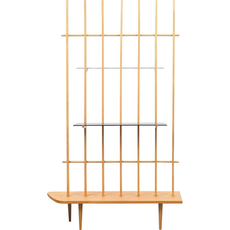 Vintage room divider with shelves 1950s