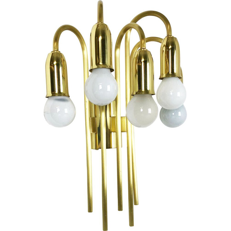 Vintage Brass Theatre Wall Ceiling Light Sconces Italy 1970s