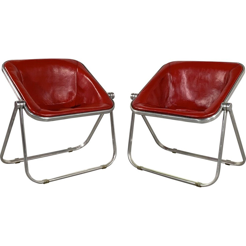 Pair of vintage Red Leather Plona chairs by Giancarlo Piretti for Castelli 1970s