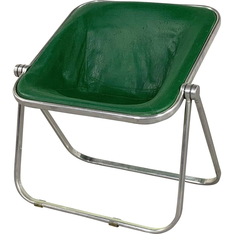 Vintage Green Leather Plona chair by Giancarlo Piretti for Castelli 1970s