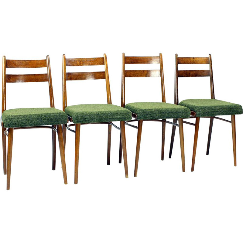 Set of 4 vintage Dining Chairs In Oak & Fabric By Interier Praha Czechoslovakia 1966