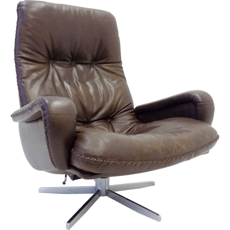 Vintage De Sede dark brown leather armchair