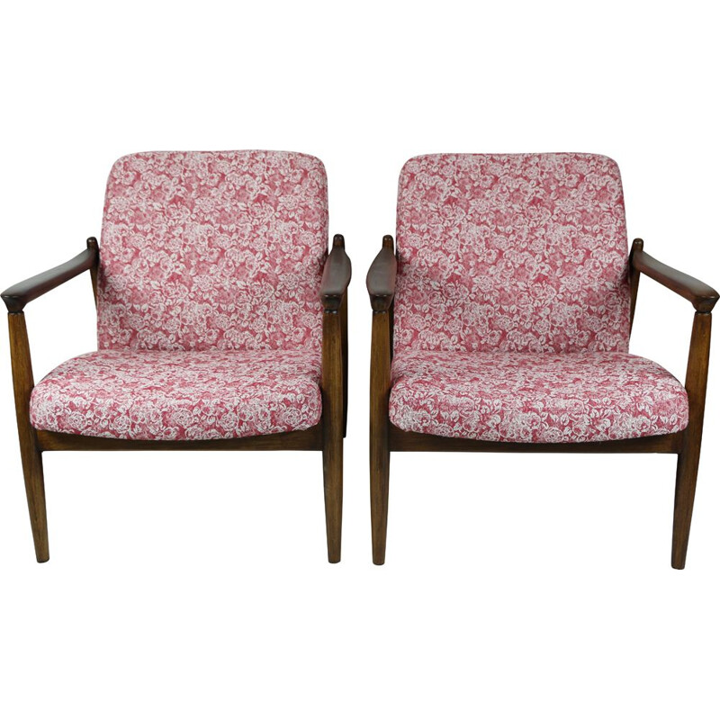 Pair of Vintage Red Rose Armchair by Edmund Homa 1970s