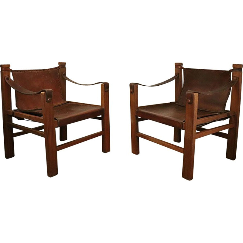 Pair of vintage Safari armchairs 1950s