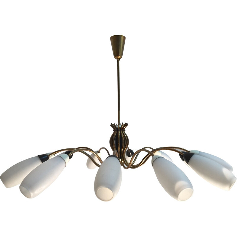 Italian Mid century chandelier in brass and glass - 1950s