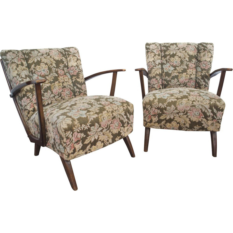 Pair of vintage Art Deco Armchairs with original Cover and wooden Armrests 1930s