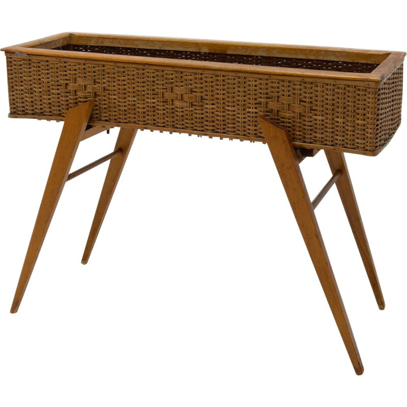 Mid century wicker and beech plant stand Central Europe 1960s