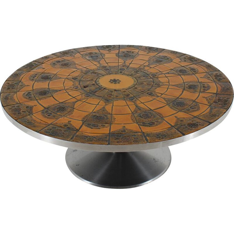 Vintage Round Tile-Top Coffee Table by Lilly Just Lichtenberg for Poul Cadovius 1960s