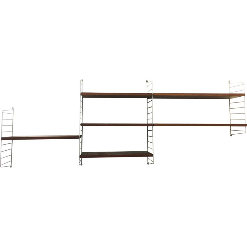 Vintage String Laddershelf Wallrack by Nisse StrinningSweden 1960s