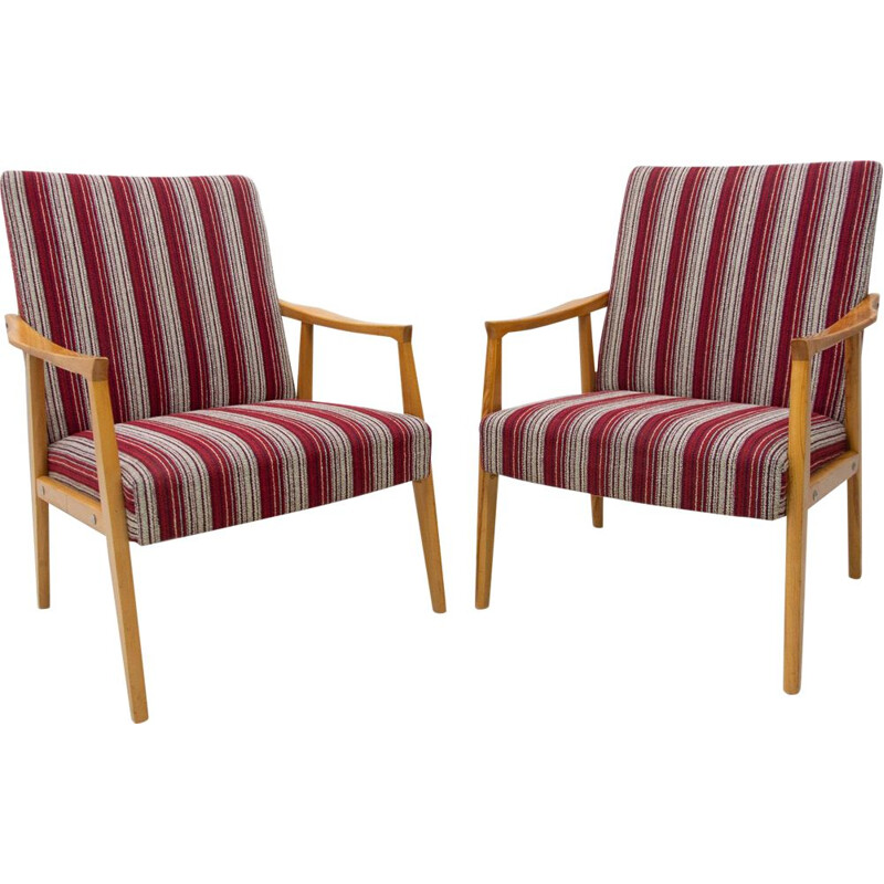 Pair of mid century armchairs Czechoslovakia 1960s