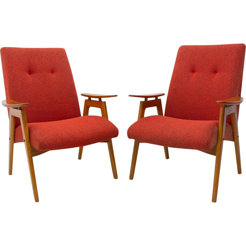 Pair of midcentury armchairs by Jaroslav Šmídek for Jitona 1960s