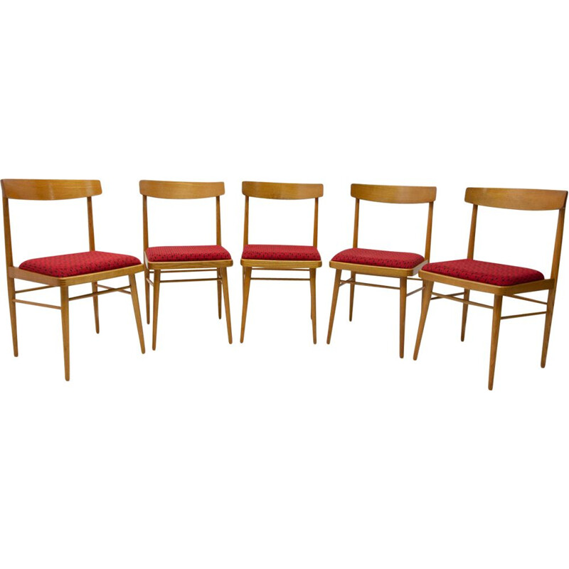 Set of 5 vintage dining chairs Ton Czechoslovakia 1970s
