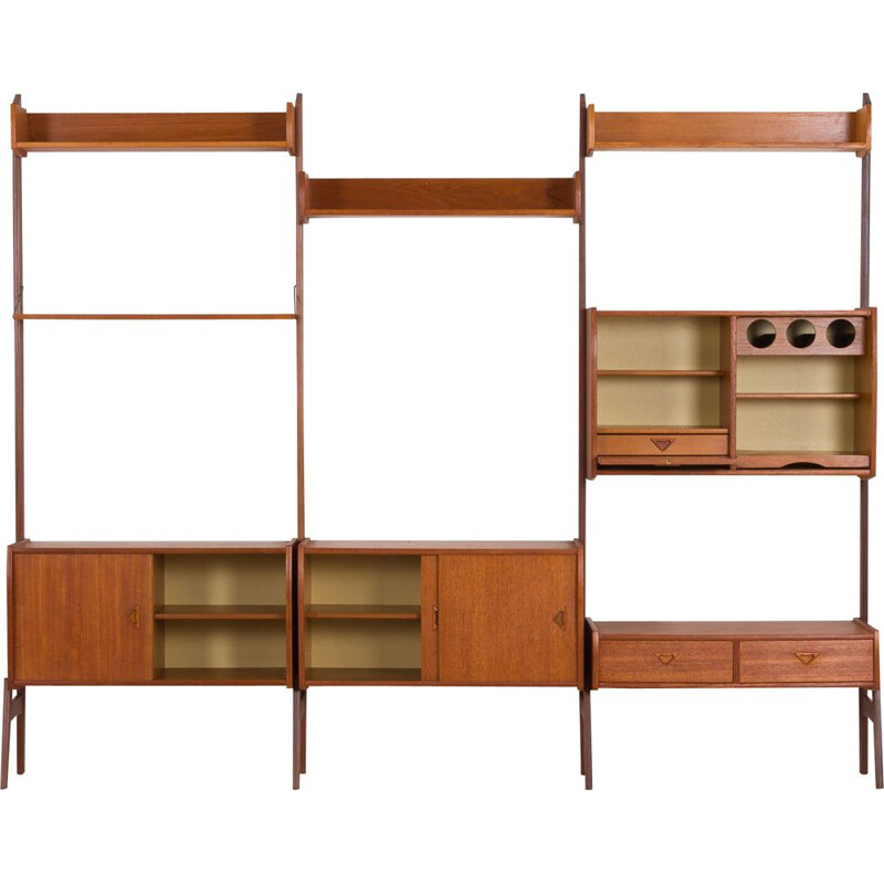 Vintage Three-Bay Wall Unit by Blindheim Mobelfabrik with bar cabinet Scandinavian 1960s