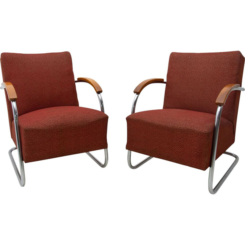 Pair of vintage Bauhaus tubular steel armchairs by Mücke & Melder 1950s